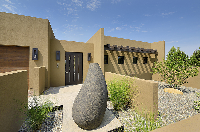 modern home building in the desert of New Mexico
